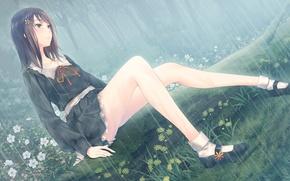 Picture girl, rain, anime, art, flowers, upscale, sugina miki, kousaka mayuri, innocent grey