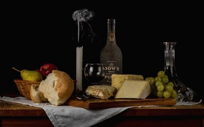 Wallpaper candle, cheese, bread, grapes, alcohol, fruit, still life