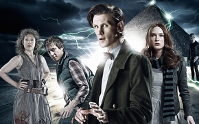 Picture the sky, look, girl, lightning, scarf, actress, pyramid, actor, Silence, male, coat, Doctor Who, vest, …