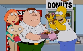 Picture the simpsons, donuts, family guy