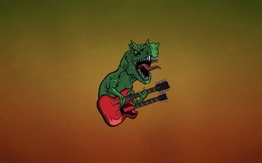 Picture language, red, green, guitar, dinosaur, minimalism, teeth, hard, lizard, fangs, guitar, dino, dark background, dinosaur