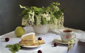 Wallpaper cake, Apple, still life, tea, cherry, cherry