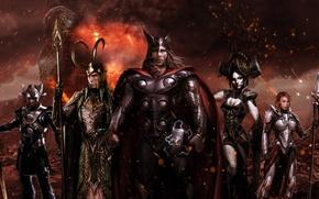 Picture cinema, fire, flame, sword, Ragnarok, armor, Marvel, movie, ken, hero, Thor, film, giant, warriors, Idris …
