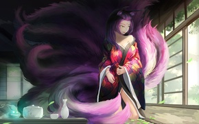 Picture girl, house, room, anime, art, dishes, kimono, ears, tails, kikivi, joymax