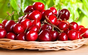 Picture basket, leaves, leaves, basket, a lot of cherries, a lot of sweet cherry