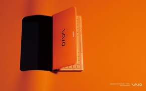 Picture orange background, sony, orange laptop