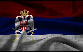 Picture fabric, coat of arms, flag, serbian