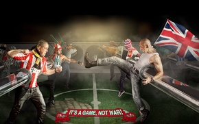 Picture background, football, fight, flags, fans, football, This is a game not war, It's a game-not …