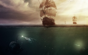 Picture sea, ship, monsters, pirates