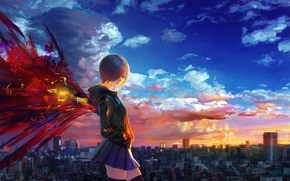 Picture the sky, girl, clouds, sunset, the city, home, wings, anime, art, shitub52, Tokyo ghoul, kirishima …