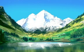 Picture lake, mountain, art