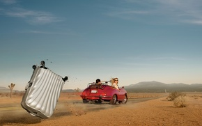 Picture road, girl, desert, speed, male, suitcase, car, photographer, Ryan Schude, flew