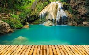 Picture forest, Park, stones, waterfall, Thailand, bridges, pond