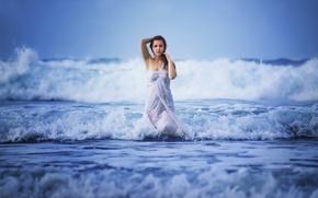 Picture wave, foam, girl, the ocean