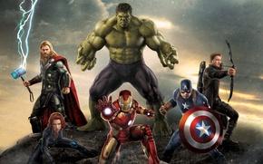 Picture Scarlett Johansson, Girl, Heroes, Hulk, Lightning, the, Iron Man, The, Wallpaper, Guns, Captain America, Super, …