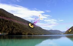 Wallpaper mountains, treatment, Lake