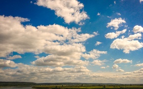 Picture clouds, river, Camp garden, Tomsk, Lower terrace, Tom
