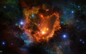 Wallpaper space, stars, nebula, art, space, nebula, art