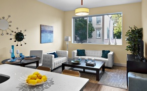 Picture design, the city, style, interior, living room, city apartment