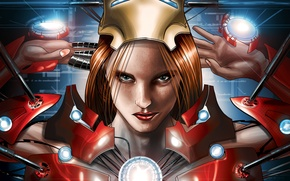 Picture look, girl, face, lips, freckles, red, girl, redhead, grin, Iron Man, comic, marvel, Marvel Comics, …