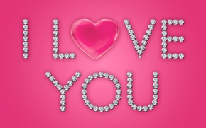Wallpaper love, i love you, heart, pink, glamour, brilliant, diamonds, design by Marika