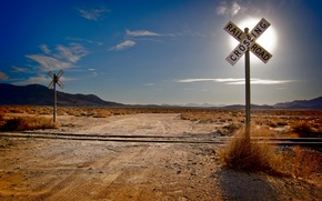 Picture road, grass, the sun, clouds, mountains, desert, landscapes, road, rails, cloud, railroad, crossroads, sleepers, railroad, …