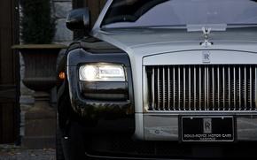 Picture black, headlight, Rolls-Royce, before, black, ghost, front, rolls Royce