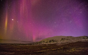 Picture field, stars, Northern lights, hill