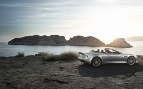 Picture Aston Martin, The sun, The sky, Water, Sea, Auto, Convertible, Grey, DB9, Coupe, Sports car