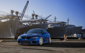 Picture the sky, blue, bmw, BMW, ships, front view, blue, e92