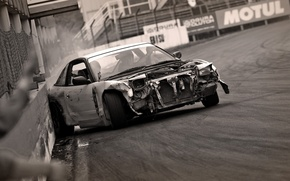 Wallpaper black and white, Drift, Nissan, crash