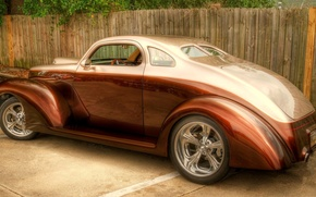 Picture color, ford, drives, chrome, body, coupe, custom, bronze