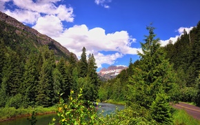 Picture road, forest, the sky, mountains, river, USA, glacier national park, montana