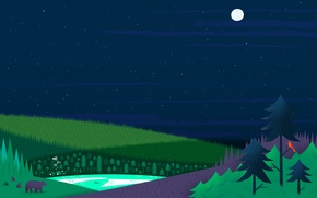 Picture forest, lake, the moon, tree, home, Stars, bears, google now