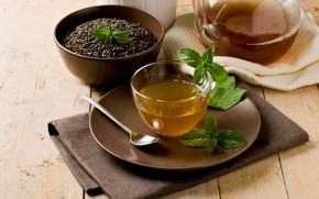 Picture tea, Cup, mint, teapot