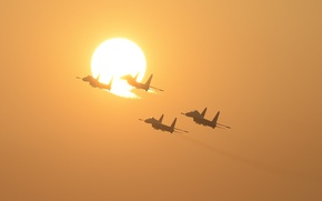 Wallpaper the sun, fighters, Su-27, flight, Flanker