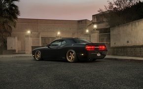 Picture Muscle, Dodge, Challenger, Car, Black, Tuning, R/T, Wheels, Rear, Ligth