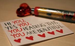 Wallpaper macro, love, sheet, paper, the inscription, heart, handle, love, notebook, recognition, line, feeling
