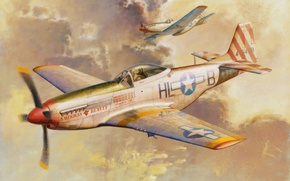 Picture fighter, war, art, painting, aviation, P-51D Mustang, ww2