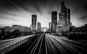 Picture road, movement, Paris, skyscrapers, black and white, architecture