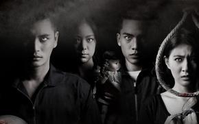 Picture blood, girls, fog, boys, evil, doll, yellow eyes, 2014, Thai, horror movie, agony, The Eyes …