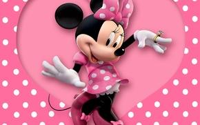 Wallpaper pink, disney, mouse, polka dots, minnie, heart, cartoon