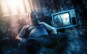 Picture man, the situation, TV, gas mask