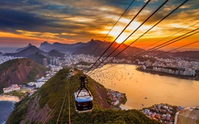 Picture sunset, mountains, the city, the ocean, home, Bay, yachts, Rio de Janeiro, cable car