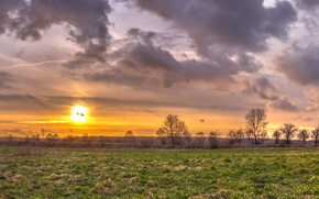 Picture the sky, clouds, sunset, Field, sky, field, sunset, clouds, March, march