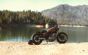 Picture red, Yamaha, bike, trees, nature, motorcycle, view, lake, custom, shore, cruiser, pearls, motorbike, Virago 750, …