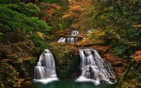 Picture autumn, forest, trees, Japan, Japan, waterfalls, cascade, Nabari, He Shijuhachi-taki, Mie Prefecture, Nabari, Akame 48 ...