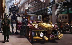 Picture machine, the city, fantasy, robot, art, lady, Steampunk