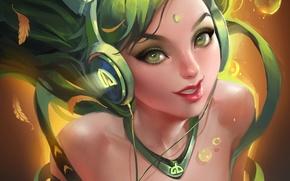 Picture leaves, girl, logo, headphones, art, sakimichan, deviantART