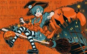 Picture castle, fright, skull, cross, stars, stockings, hat, pumpkin, Halloween, broom, mouse, volatile, apron, striped, Kuroshitsuji, …